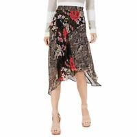 INC NEW Women's Mixed-print Chiffon Trapeze Asymetrical Skirt TEDO
