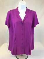 Dana Buchman Women's Purple Short Sleeve Button Down Pleated Blouse Sz M