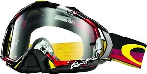Oakley Men's Mayhem Pro Legacy MX Motocross Goggles - Red Frame/Clear Lens