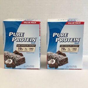 12p. Pure Protein Bars Dark Chocolate Coconut Gluten Free 19g Protein Bar Fresh