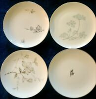 Set of 4 Vintage Mismatched China Cake Dessert Bread Plates White and Gray