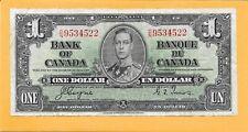 1937 BANK OF CANADA 1 DOLLAR BILL D/N9534522 (CIRCULATED)
