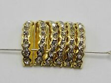 40 Golden Clear Crystal Rhinestone Half Moon 3-Hole Bridge Spacer Beads