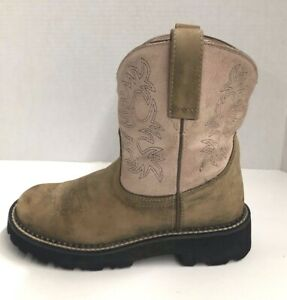 Ariat 4LR FATBABY Women's 6.5 B Cowboy Western Short Boots Brown Leather Pink