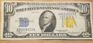 1934 A North Africa $10 Silver Certificate WWII war Relic Fr 2309 XF / AU NICE !