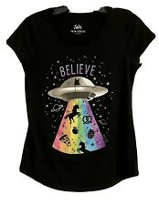 Justice Girl's Size 14-16 BELIEVE Glitter Graphic Longer Length Tee in Black