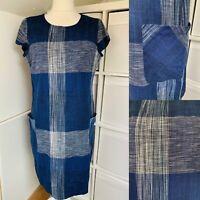 "Seasalt Navy Blue & White Shift Dress Size 20 Checked 100% Cotton ""Rocambole"""