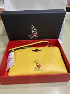 NWT Coach Disney Mickey Mouse Leather Corner Zip Wristlet 56266B Canary Yellow