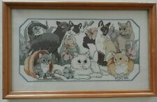 Vintage Needlepoint Cats Tapestry Picture Completed Calico Siamese Kitty Crazy