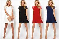 Summer Short Mini Dress Sexy Womens Patchwork Short Sleeve Lace Chiffon Party