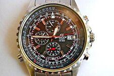Rare Reloj  CASIO EDIFICE MEN'S Huge 4 Crowns .CHRONOGRAPH 100M DIVER SS WATCH