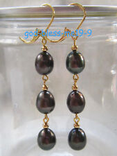 Charming AAA 10-12mm real natural south sea black pearl earrings 14k Yellow Gold
