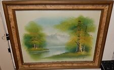 T.BAILEY ORIGINAL OIL ON CANVAS LAKE MOUNTAIN LANDSCAPE PAINTING