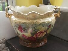 VERY LARGE TWIN - HANDLED VICTORIAN JARDINIER BY STANLEY CHINA WITH  ROSES