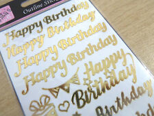 Shiny Gold Foil Happy Birthday Labels Stickers for Craft Cards Decoration WD-15