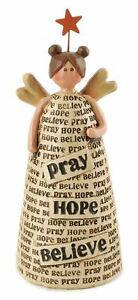 Pray Hope Believe Resin Angel w/ Star Christian Gift Blossom Bucket NWT