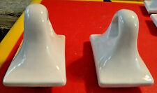 Vintage Mid Century Modern White Ceramic Bath 1950's Towel Bar Holders Gilmer TX