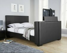 New Double Black Faux Leather Newark TV Bed Free LOCAL Delivery