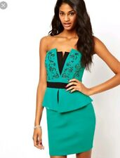 Lipsy Bandeau jade Embellished Peplum bodycone fitted Dress Size 16 new