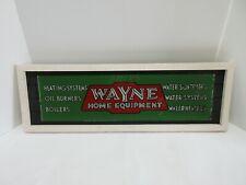 Vintage Original WAYNE HOME EQUIPMENT Reverse Painted Glass Sign Nicely Framed