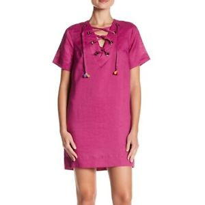Line & Dot Garcia Lace-Up Pompom Linen Mini Dress Tunic Size Small Pink NEW