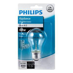 Philips 416768 40-Watt Incandescent A15 Clear Appliance Light Bulb