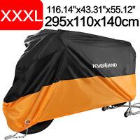 Housse Bâche Moto Couverture Etanche Respirable Contre Pluie UV Noir+Orange XXXL