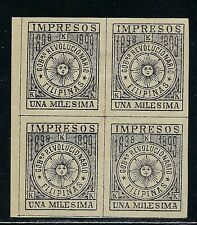 B&D: 1898-1899 U.S. Possessions/Philippines Scott YP1 IMPERF block/4 MHR