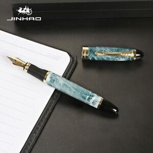 Jinhao X450 Blue Marble Fountain Pen, MEDIUM Nib Gold Trim - UK SOLD!