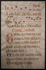 Medieval Catholic Latin Manuscript on Vellum, LARGE Page, Luke 1:68-79, FINE!