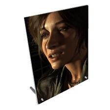 "Lara Croft Tomb Raider.8"" x 10"" Toughened Glass Panel With Peg Stand"