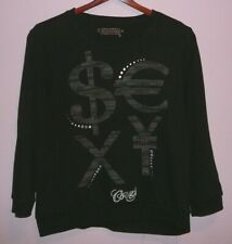 Women's Coogi Long Sleeve Sexy Beaded Shirt Top Black XL