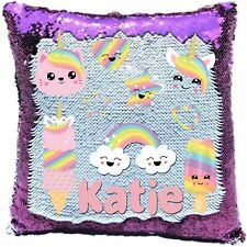 Personalised Unicorn Faces Reveal Sequin Cushion Cover - Boys/Girls - Blue/Pink