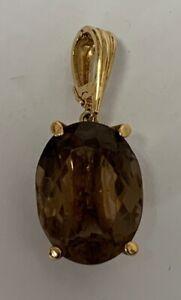 "Estate Jewelry Ladies Oval Smoky Topaz Pendant 14K Yellow Gold 1 3/8"""