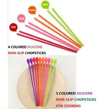 NON-SLIP Silicone Stainless steel Chopsticks for Adult Korean Food Ramen Noodle