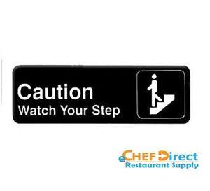 """New 3"""" x 9"""" Restaurant Plastic Door Sign - """"Caution Watch Your Step"""""""