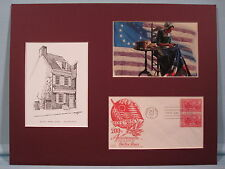 Betsy Ross sews the First U.S. Flag and the Betsy Ross House & First day Cover