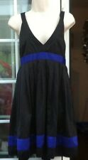 TOPSHOP BLACK & PURPLE  TRIM STRAPPY ABOVE THE KNEE LENGTH SATIN DRESS - SIZE 10