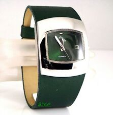 Retro 60s 70s Bubble Pod Deep Green Pu Leather Ladies Ossie Eame Wide Watch Cuff