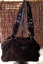 Authentic Brown Suede Prade Handbag purse, hobo shoulder bag