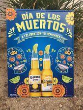 Corona beer Dia De Los Muertos tin metal sign Skull New. ~ Free Shipping ~