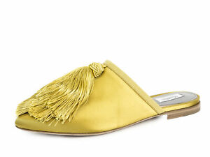MAX MARA Women's Globale Yellow Satin Tassel Slides $585 NIB