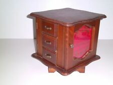 Vtg Musical Revolving Jewelry Organizer Box 6 Drawers 2 Doors/Hooks/Rings Wooden