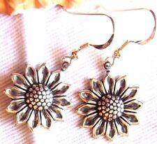 EARRINGS KIRSTEN USA Artisan Sunflower Sunshine Sun Flower 925 Silver Hooks wBag