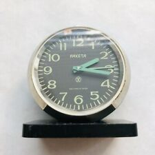 RARE Soviet Alarm clock RAKETA Small USSR Watch Vintage Mini Loud Metal Case