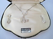 GORGEOUS VTG STERLING SORRENTO FILIGREE BY CAMEO NECKLACE SCREW EARRINGS ORG BOX