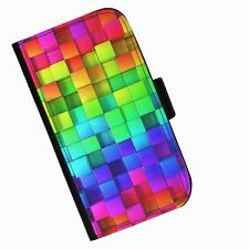 BG97 RAINBOW BLOCKS PRINTED LEATHER WALLET/FLIP CASE COVER FOR MOBILE PHONE