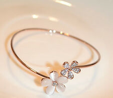 Fashion Womens Ladies Crystal Daisy Flower Bangle Bracelet Gold Jewelry Gift