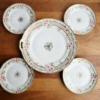 Nippon Morimura Bros pink cherry blossoms cake plate or tray and 4 side plates
