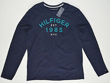 NWT Men TOMMY HILFIGER T-Shirt Long Sleeve Tee, Navy Blue, L, Large, Embroider